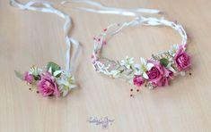 Bridal set Flower girl Floral bracelet Floral crown Pink by Vualia