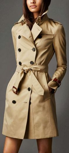 Burberry Leather Detail Trench Coat