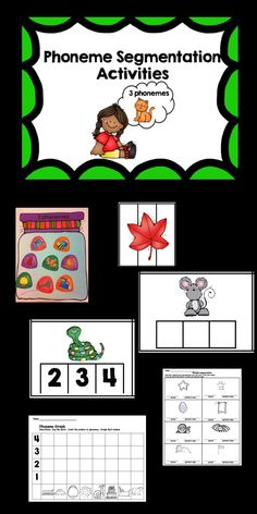 Hands on activities to teach phoneme segmentation for words with 2, 3, and 4 phonemes.  Includes  32 colorful Elkonin boxes  clip the number of phonemes phoneme cards phoneme sort printables   Perfect resource for centers or small groups, centers or students who need intervention.  $