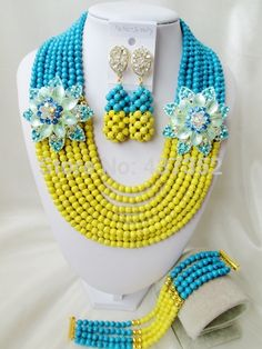 Online Shopping at a cheapest price for Automotive, Phones & Accessories, Computers & Electronics, Fashion, Beauty & Health, Home & Garden, Toys & Sports, Weddings & Events and more; just about anything else Yellow Turquoise, Turquoise Beads, Blue Yellow, Wedding Events, Weddings, Costume Jewelry Sets, Diy Store, China Jewelry, Garden Toys