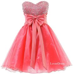 Short Homecoming Dresses, Sweet 16 Dress, Sweetheart Organza Cute Coral Homecoming Dresses / Party Dresses / Prom Dresses