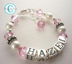 Girl Name Bracelet, Baptism Christening Baby Gift Shower Child, Sterling silver, cross swarovski crystal pearl personalized custom birthday