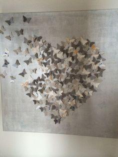 Origami Butterfly Wall Art Fun New Ideas Origami Heart, Origami Butterfly, Butterfly Wall Art, Fun Origami, Hanging Origami, Origami Wall Art, Origami Videos, Origami Box, Paper Butterflies