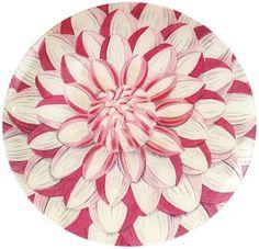 """John Derian's Decoupage 16' Platter """"Dahlia Blow-Up"""""""