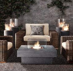 Outdoor firepit/coffee table.