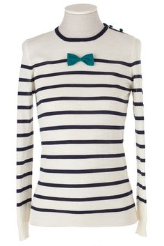Lazzari Striped Shirt with Bow