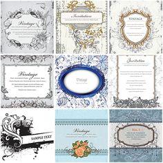Vintage blue wedding invitation set vector