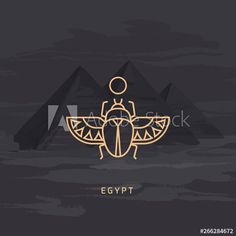 Vector drawing icon of Egyptian scarab beetle, personifying the god Khepri. Icon isolated on background illustration of Egyptian pyramids painted by hand. - Buy this stock vector and explore similar vectors at Adobe Stock Egyptian Beetle, Egyptian Scarab, Egyptian Symbols, Egyptian Art, Mayan Symbols, Viking Symbols, Viking Runes, Ancient Symbols, Ancient Egypt