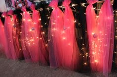 lots of tulle & hanging twinkle lights