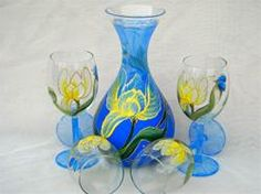 Custom Painted Wine Glasses & Decanter Set    	$210.00