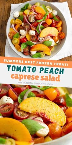 This sweet and simple tomato peach Caprese salad takes all the flavors of summer and puts them in a bowl. Sweet peaches paired with heirloom tomatoes, red onion, fresh mozzarella, and basil tossed in a champagne vinaigrette. Fresh Mozzarella, Caprese Salad, Champagne Vinaigrette, Best Salad Recipes, Steak Salad, Sweet Peach, Chopped Salad, Broccoli Salad, Dinner Salads