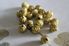 4 Vintage Brass Scalloped Ball Beads by CaityAshBadashery on Etsy, $2.95