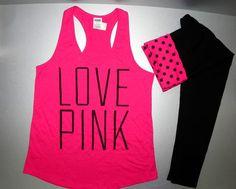 Victorias Secret Pink Yoga Leggings Logo Tank Set