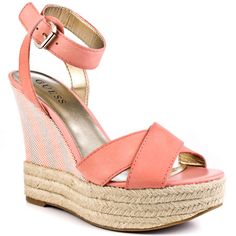 Let your hair down and cut loose in the Kambria by Guess. A medium pink leather creates the upper while a striped fabric and espadrille adorn the 5 inch wedge and 1 inch platform. Hot Pink Heels, Pink Shoes, Pink Leather, Leather Heels, Jessica Simpson Shoes, Guess Shoes, Ankle Strap Heels, Steve Madden Shoes, Crazy Shoes