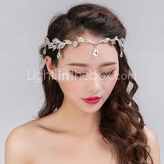 Women's Silver Crystal Rhinestone Headband Forehead Hair Jewelry for Wedding Party - USD $17.99 ! HOT Product! A hot product at an incredible low price is now on sale! Come check it out along with other items like this. Get great discounts, earn Rewards and much more each time you shop with us!