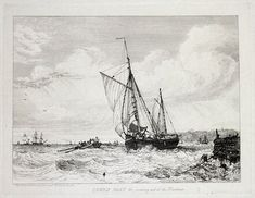COWES BOAT c coming out of the harbour Drawn and Etched by E W Cooke Published London 1829 in Cooke s Sixty Five Plates of Shipping and Craft A fine