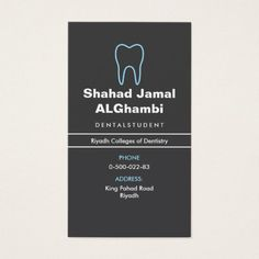 Dentist or dental assistant, modern, blue and gray business card