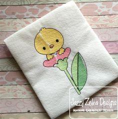 Chick in Flower 100 Sketch Embroidery Design: Jazzy Zebra Designs