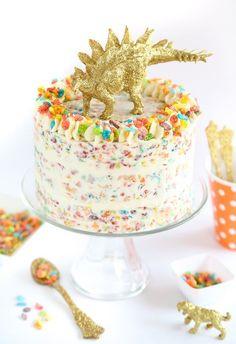 Fruity Pebbles Crispy Treat Cake | Sprinkle Bakes