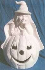 WITCH WITH JACK-O-LANTERN               CERAMIC BISQUE HALLOWEEN U-PAINT Painted Ceramics, Ceramic Painting, Ceramic Bisque, Jack O, Lanterns, Witch, Halloween, Decor, Painted Pottery