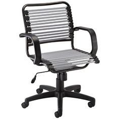 Bungee chair - made with a series of flat bands wrapped in polyester; the bands conform to your body and evenly distribute your body weight.