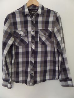 VANS OFF THE WALL Men's Shirts Size-S Gray 100% Cotton Very Good #VANSOFFTHEWALL #ButtonFront