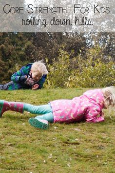 Rolling down hills - working on core strength with kids and having family fun with kids