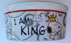 "Peanuts SNOOPY & WOODSTOCK Dog Food Bowl Heavy Duty Pet Dish ""I AM KING"" (7"" Wide) by Gibson, http://www.amazon.com/dp/B006E56E50/ref=cm_sw_r_pi_dp_ql8frb0RQ1E2E"