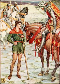 "8.  ""Young Perceval questions Sir Owen.""   ---    Walter Crane Illustrations: King Arthur's Knights."