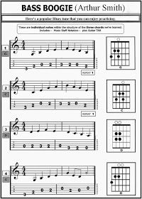 """Guitar TAB © 2014 by Bob Wingate The song is actually called """"Guitar Boogie"""" Bass Guitar Scales, Bass Guitar Notes, Learn Bass Guitar, Fender Bass Guitar, Guitar Tabs Songs, Music Theory Guitar, Guitar Chords Beginner, Easy Guitar Songs, Guitar Chords For Songs"""