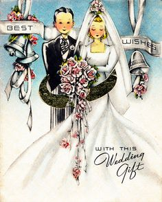 Vintage wedding gift card with bride and groom