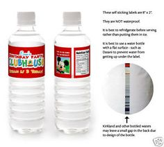 party water bottle labels