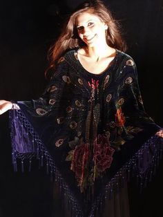 DEEP DARK PURPLE COLORED FAB PAINTEDHAND BEADED VELVET PEACOCK PONCHO BOHO TOP~ - 1