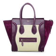 Celine Luggage Mini Nubuck Leather with Calfskin Leather Boston Bag Purple/Apricot 3308