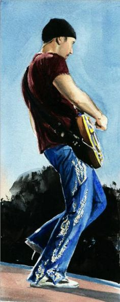 The Edge - watercolor painting by Kelly Eddington Adam Clayton, Best Rock Bands, Cool Bands, U2 Show, Larry Mullen Jr., Man Cave Essentials, Bono Vox, Irish Rock, Funky Art