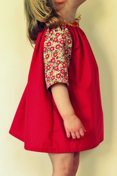 Toddler girls tunic dress in red and floral ditsy print age 2-3. $15.00, via Etsy.