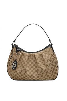 """Beige/ebony GG fabric with black leathertrim  light gold hardware  single non-adjustable strap with 7.8"""" drop  zip-top closure  inside zip, cell phone, and pda pocket  15.7""""L x 4.7""""W x 11.8""""H"""
