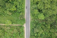 Aerial Photo of Black Vehicle on Grey Concrete Road Between Forest · Free Stock Photo Beautiful Streets, Aerial Photography, Nature Photos, Free Stock Photos, Concrete, Photoshop, Vehicle, Plants, Grey