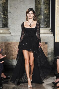Spring 2012 Black Lace Gown With Sheer Long Sleeves And Sequin Embroidery