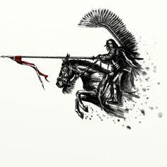 ArtStation - Husarz na koniu / Hussar on horseback, Michał Matuszak Be Brave Tattoo, Warrior Tattoos, Ange Demon, Harry Potter Tattoos, Medieval Fantasy, Tattoo Drawings, Tattoo Inspiration, Tatoos, Tattoo Designs