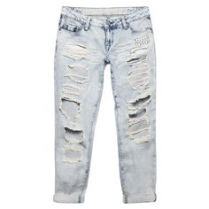 Ripped & Repaired Boyfriend Jeans ($36) ❤ liked on Polyvore featuring jeans, pants, bottoms, denim, relaxed boyfriend jeans, low-rise boyfriend jeans, relaxed fit jeans, low rise jeans and distressed jeans