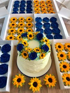 Everything piped in buttercream. If you would like to learn how to pipe beautiful buttercream flowers then the link in my bio will take you… Sunflower Cupcakes, Sunflower Party, Sunflower Birthday Cakes, Sunflower Wedding Decorations, Wedding Centerpieces, Buttercream Flowers, Cute Cakes, Pretty Cakes, Cake Cookies
