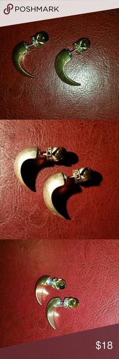 Tiger's eye stone bone tooth double earrings Unique  2 in 1; double wear With tiger's eye stone Approximately 1 inch Brand new Jewelry Earrings