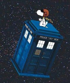 Snoopy as the 4th Doctor flying the TARDIS
