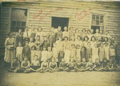 Antioch School, Ivy Log & Gum Log border of Union County, GA. Taken in the teens at the latest. Miss Laura Mauney was the teacher. She is at far left. This school was next door to Antioch Church. It burned about 1923 or 24 and a new one room building was erected.
