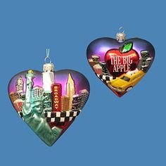 New York City Big Apple Ornament, Glass Heart New York City skyline Christmas ornament features the famous landmarks of NYC such as the Statue of Liberty, Empire State Building, Freedom Tower, Chrysler Building, NYC Taxi, Broadway and more. (http://www.nycwebstore.com/new-york-city-big-apple-glass-heart-ornament/)