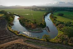 A winding river cuts through fields of sugarcane around El Caño, located in the grove of trees beneath the central mountain. The waterway's shores, perhaps considered sacred long ago, may hold many more graves yet to be discovered.
