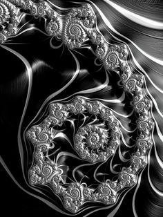 Fractal Steampunk Spiral Black And White Print by Matthias Hauser