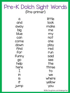 dolch sight word lit | Daughters and Kindergarten: Dolch Sight Word Lists