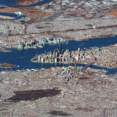 New York van een afstand. Fascinerende foto die ook te koop is in de printshop van Daily Overview. [[MORE]]Check out this remarkable view of New York City captured at an extremely low-angle. New York City, Ciudad New York, Photographie New York, Upstate New York, Concrete Jungle, Jolie Photo, World Trade Center, Aerial Photography, Urban Planning